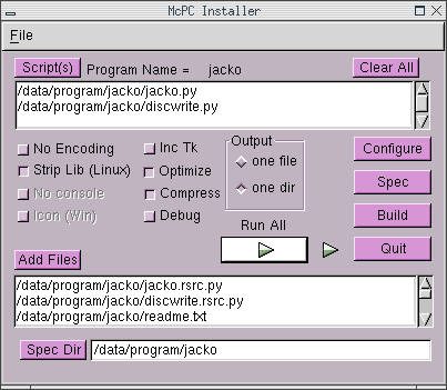 Screenshot of McPC